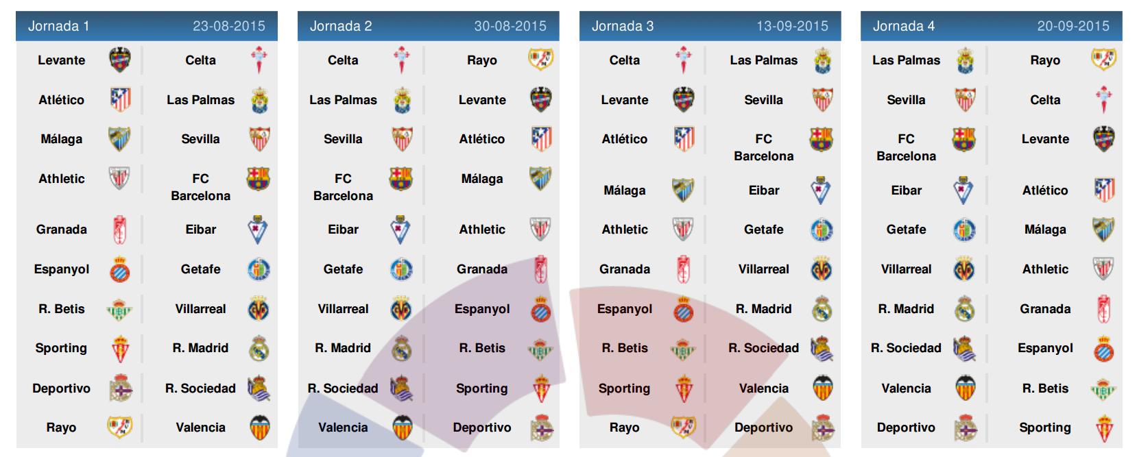 La Liga 2015-2016 Schedule