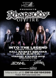 Rhapsody of Fire - Into Legend Indonesia Tour - 2016